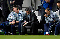 Photo: Jed Wee/Sportsbeat Images.<br /> Newcastle United v Chelsea. The Barclays Premiership. 22/04/2007.<br /> <br /> Chelsea manager Jose Mourinho consults his watch as he realises time is running out for his team to catch Manchester United.