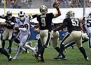 New Orleans Saints quarterback Drew Brees (9) throws the ball during an NFL football game against the Los Angeles Rams, Sunday, Sept. 15, 2019, in Los Angeles. The Rams defeated the Saints 27-9. (Dylan Stewart/Image of Sport)