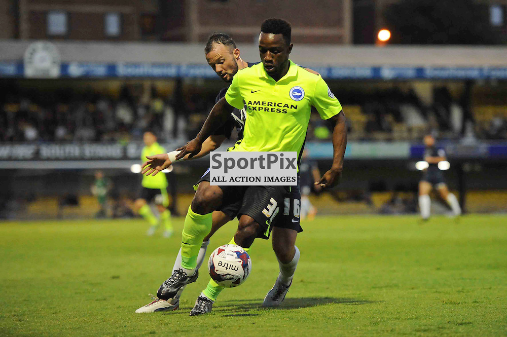 Southends Noel Hunt and Brightons Kazeno Lualua in action during the Southend v Brighton match in the first round of the Capital One Cup