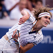 August 30, 2017 - New York, NY : Alexander Zverev, in white, competes against Borna Coric, not visible, in the Grandstand on the third day of the U.S. Open, at the USTA Billie Jean King National Tennis Center in Queens, New York, on Wednesday. <br /> CREDIT : Karsten Moran for The New York Times