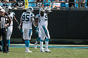 Mario Addison(97) celebrates after his sack of Drew Dress(9) in the New Orleans Saints 34 to 13 victory over the Carolina Panthers.