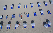 Aerial view of beach umbrellas. beach chair