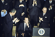 US President Richard Nixon (seated) proposes that NATO should study environmental problems. The Ministers offer to examine with the USSR & other Eastern European countries which concrete issues best lend themselves to fruitful negotiations North Atlantic Council Meeting   at the level of Foreign Ministers  Washington D.C., United States of America  10 April 1969