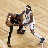 01 June 2012: Boston Celtics shooting guard Marquis Daniels (4) defends on Miami Heat small forward James Jones (22) during the first quarter of Game 3 of the Eastern Conference Finals playoff series, Heat vs Celtics, at the TD Banknorth Garden, Boston, Massachusetts, USA.