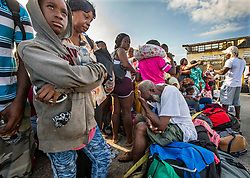 Evacuees wait for transportation to leave Marsh Harbour Port on Abaco Island on Saturday, September 7, 2019. Photo by Al Diaz/Miami Herald/TNS/ABACAPRESS.COM