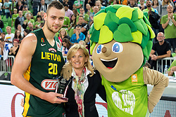 Donatas Motiejunas of Lithuania receiving award for best team at the tournament Lithuania after friendly basketball match between National Teams of Slovenia and Lithuania at Day 3 of Telemach Tournament on August 23, 2014 in Arena Stozice, Ljubljana, Slovenia. Photo by Matic Klansek Velej / Sportida