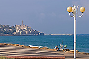 Israel, Jaffa as seen from North with the Tel Aviv promenade in the foreground