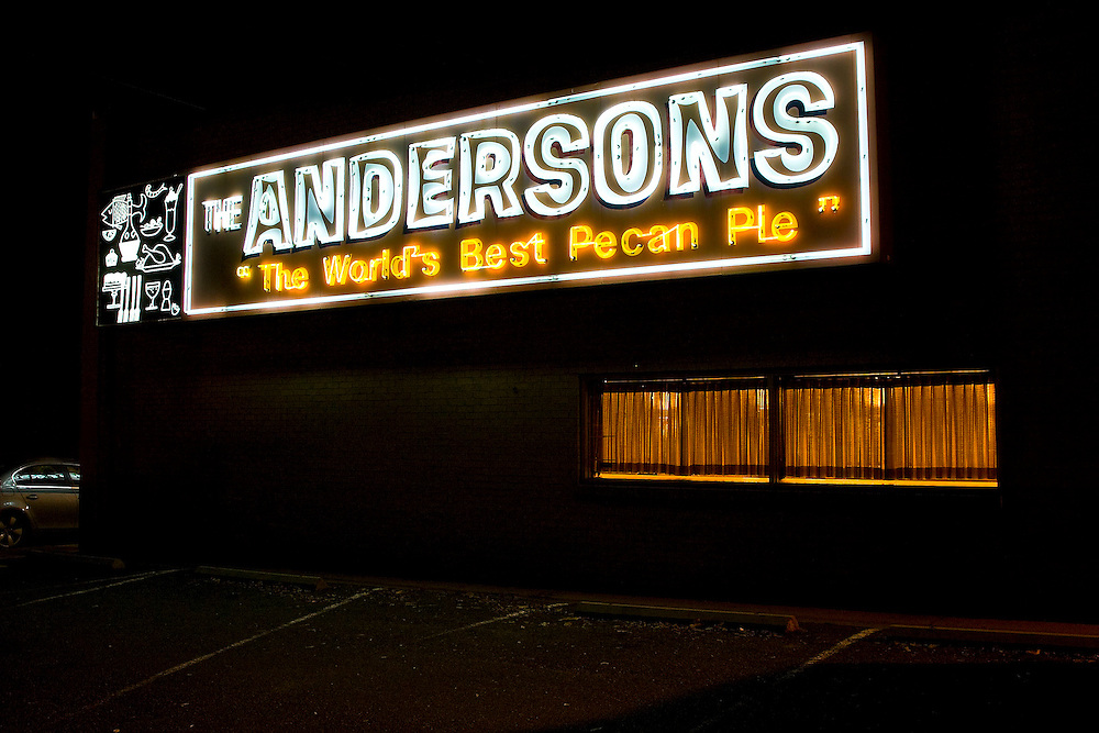 Anderson's Restaurant exterior neon sign.