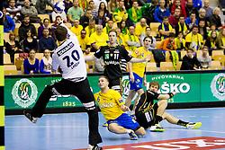 Gasper Marguc #6 of RK Celje Pivovarna Lasko during handball match between RK Celje Pivovarna Lasko (SLO) vs Rhein-Neckar Lowen (GER) in 3rd Round of Group A of EHF Champions League 2013/14 on October 12, 2013 in Arena Zlatorog, Celje, Slovenia. (Photo By Urban Urbanc / Sportida)