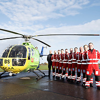 FREE TO USE PHOTOGRAPH....30.10.15<br /> Scotland's Charity Air Ambulance (SCAA) unveiled it's new helicopter at Perth airport this morning a EC135 T2i (pictured) which replaces the Bolkow 105 helicopter which is retiring from service. The new helicopter will increase speed, range, endurance and payload, allow SCAA to fly at night and in cloud. Farewell to the Bolkow 105, pictured from left, Chief Pilot Russell Myles, Lead Paramedic John Pritchard, Mark Tynan, Phillip Campbell, Craig McDonald, Alan Finlayson, Paul Gowans, John Salmond, Julia Barnes and Chris Darlington.<br /> for further info please contact Maureen Young on 07778 779000<br /> Picture by Graeme Hart.<br /> Copyright Perthshire Picture Agency<br /> Tel: 01738 623350  Mobile: 07990 594431