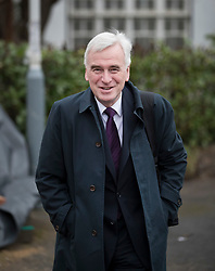 © Licensed to London News Pictures. 07/03/2017. London, UK. Shadow Chancellor John McDonnell leaves home for Parliament on budget day.  Later Chancellor of the Exchequer Philip Hammond will deliver his 2017 Budget to Parliament. Photo credit: Peter Macdiarmid/LNP