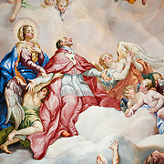 Painting in the dome of the Karlskirche (St. Charles' Church) by Rottmayr depicting the Intercession of Charles Borromeo supported by the Virgin Mary