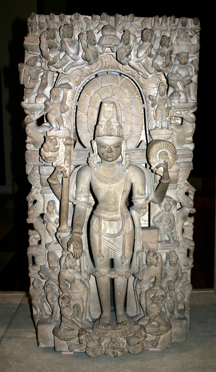Vishnu , supreme god in the Vaishnavite Hindu tradition. Next to him are his  various incarnations. From Kanuaj, India circa 1000 AD. Mythology