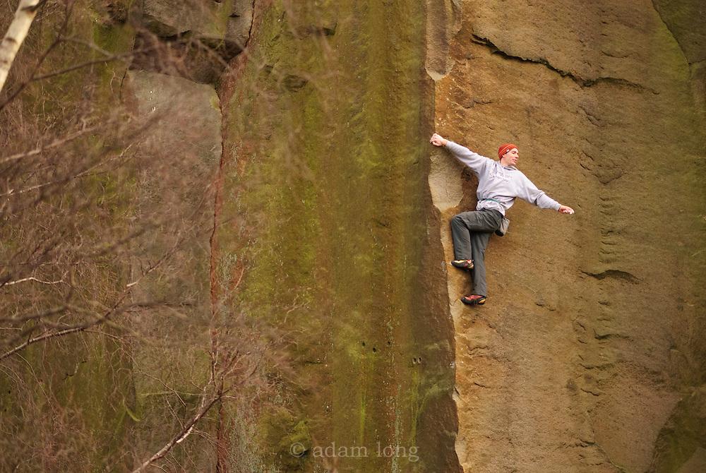 Alex Honnold soloing Edge Lane, E5, Millstone, Peak District