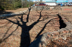 06 February 2015. Monroeville, Alabama.<br /> On the trail of Harper Lee's 'To Kill a Mocking Bird.'<br /> Not much remains of where Truman Capote's childhood home once stood. It was next door to Harper Lee's childhood home which is now Mel's Dairy Dream, a hamburger and ice cream take out only restaurant. A marker indicates the historical significance of the spot.<br /> Photo; Charlie Varley/varleypix.com
