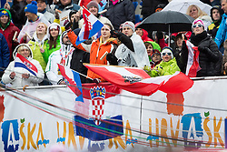 Fans from Croatia during the 2nd Run of Men's Slalom - Pokal Vitranc 2013 of FIS Alpine Ski World Cup 2012/2013, on March 10, 2013 in Vitranc, Kranjska Gora, Slovenia.  (Photo By Matic Klansek Velej / Sportida.com)