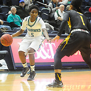 UNCW's Shatia Cole looks to pass around Towson's Dominique Johnson Sunday January 25, 2015 at Trask Coliseum. (Jason A. Frizzelle)
