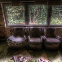 Old very moldy hotel. Hotel Schimmelig interior with chairs
