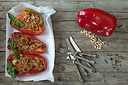 Tuna fish stuffed peppers on cooking paper, pine seeds, black pepper seeds and bell pepper, overhead shot.