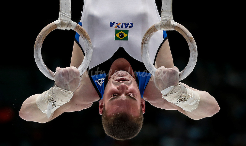 Arthur Babarrete Zanetti of Brazil competes on the Rings during the Apparatus finals at the Artistic Gymnastics World Championships in Antwerp, Belgium, 05 October 2013.