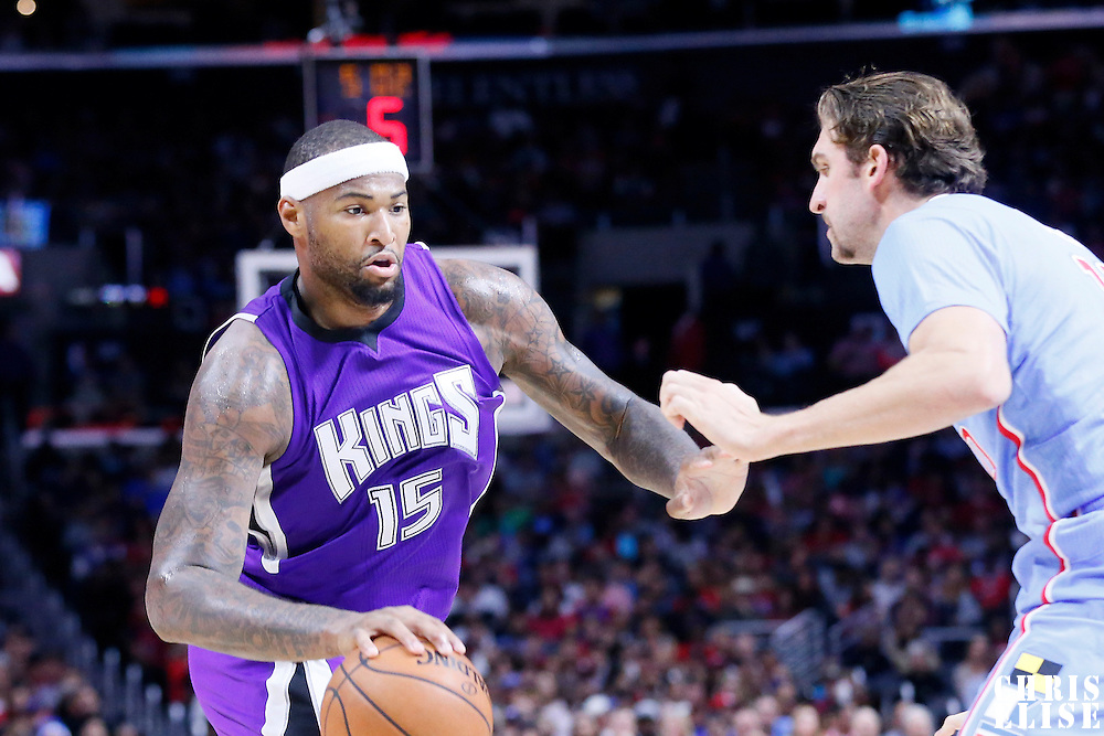 02 November 2014: Sacramento Kings center DeMarcus Cousins (15) drives past Los Angeles Clippers forward Spencer Hawes (10) during the Sacramento Kings 98-92 victory over the Los Angeles Clippers, at the Staples Center, Los Angeles, California, USA.