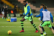 Forest Green Rovers Manny Monthe(6) warming up during the EFL Trophy 3rd round match between Yeovil Town and Forest Green Rovers at Huish Park, Yeovil, England on 9 January 2018. Photo by Shane Healey.