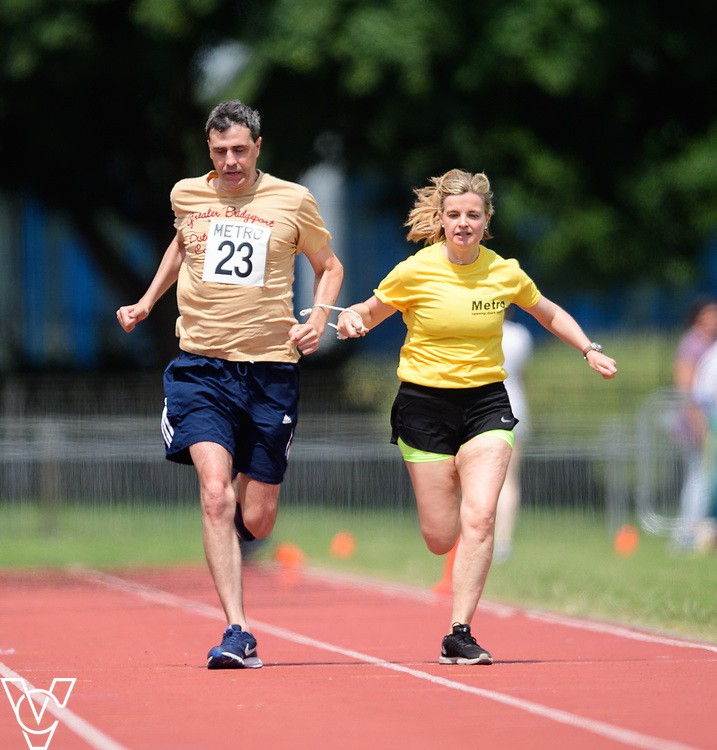 Metro Blind Sport's 2017 Athletics Open held at Mile End Stadium.  100m.  Tim Morrice with guide runner<br /> <br /> Picture: Chris Vaughan Photography for Metro Blind Sport<br /> Date: June 17, 2017