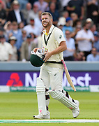 Wicket - David Warner of Australia walks back to the pavilion after being dismissed by Jofra Archer of England during the International Test Match 2019 match between England and Australia at Lord's Cricket Ground, St John's Wood, United Kingdom on 18 August 2019.