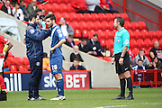 Birmingham City midfielder, Jon Toral (20) receiving treatment before going off before half time during the Sky Bet Championship match between Charlton Athletic and Birmingham City at The Valley, London, England on 2 April 2016. Photo by Matthew Redman.