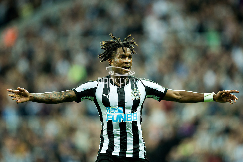 Newcastle United midfielder Rolando Aarons (#16) celebrates Newcastle United's second goal (2-2) during the EFL Cup match between Newcastle United and Nottingham Forest at St. James's Park, Newcastle, England on 22 August 2017. Photo by Craig Doyle.