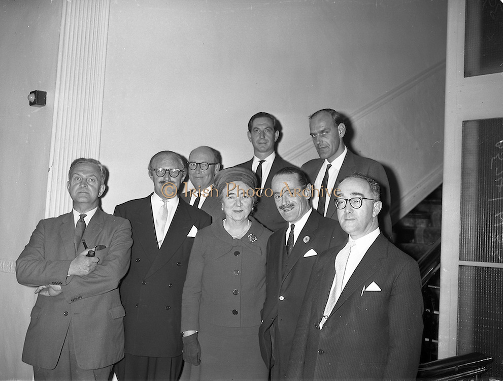 27/09/960<br /> 09/27/1960<br /> 27 September 1960<br /> The Irish Packaging Awards. Press conference to announce the results of the packaging competition at the Shelbourne Hotel, Dublin. At the event were front row (l-r): Mr Eric Dickens; Mr. R.F. Rooke; Senator Jane Dowdall; Mr. James A. Chapman and Mr. Raymond Silk. Back Row: Mr Norman GoodBody; Mr. N.M. de Majo and Mr. Frank Sutton.