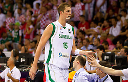 Primoz Brezec of Slovenia during the Preliminary Round - Group B basketball match between National teams of Slovenia and Croatia at 2010 FIBA World Championships on August 30, 2010 at Abdi Ipekci Arena in Istanbul, Turkey.