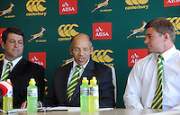CAPE TOWN, SOUTH AFRICA - Thursday 25 April 2013, Dawie Theron (coach), Pat Kuhn (SARU Exco) and Ruan Steenkamp (captain) during the official team announcement at SARU House, of the Springbok u/20 rugby team to represent South Africa in the IRB Junior World Championship (JWC) in France during the month of June. .Photo by Roger Sedres/ImageSA