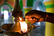 Lamp in central coridor of Dargah Shareef shrine.