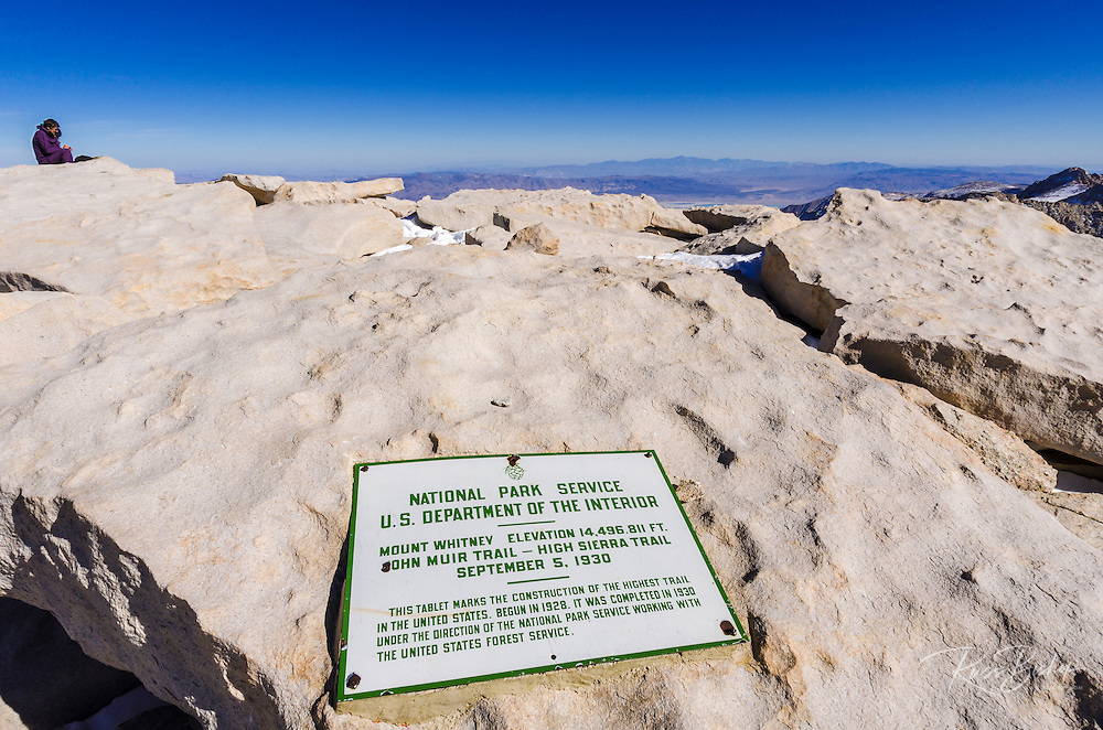 The summit plaque on Mount Whitney, Sequoia National Park, Sierra Nevada Mountains, California USA