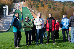 Milan Zver, candidate for Slovenian president elections and Ziga Turk, Minister for Education, Science, Culture and Sports, during Slovenian summer national championship and opening of the reconstructed Bloudek's hill in Planica on October 14, 2012 in Planica, Ratece, Slovenia. (Photo by Grega Valancic / Sportida)
