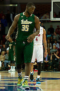 DALLAS, TX - JANUARY 15: Jordan Omogbehin #35 of the South Florida Bulls walks down court against the SMU Mustangs on January 15, 2014 at Moody Coliseum in Dallas, Texas.  (Photo by Cooper Neill/Getty Images) *** Local Caption *** Jordan Omogbehin