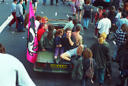 Protesters on cabriolet, 1st Criminal Justice March, Trafalgar Square, London, UK, 1st of May 1994.