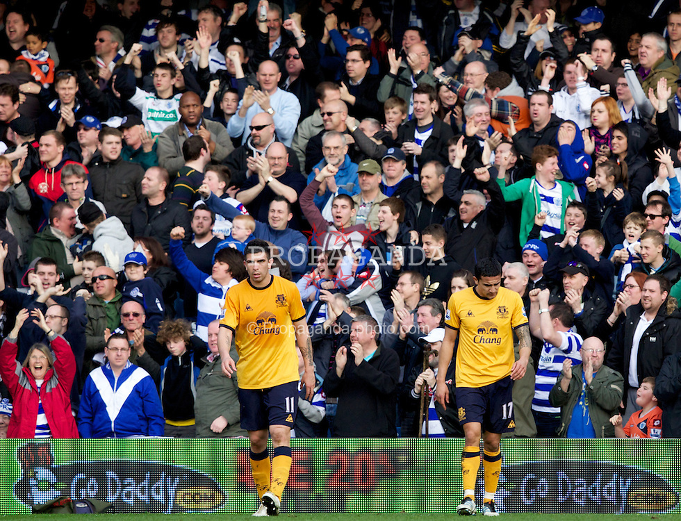 LONDON, ENGLAND - Saturday, March 3, 2012: Everton's Denis Stracqualursi and Tim Cahill look dejected as Queens Park Rangers score the equalising 1-1 goal during the Premiership match at Loftus Road. (Pic by Vegard Grott/Propaganda)
