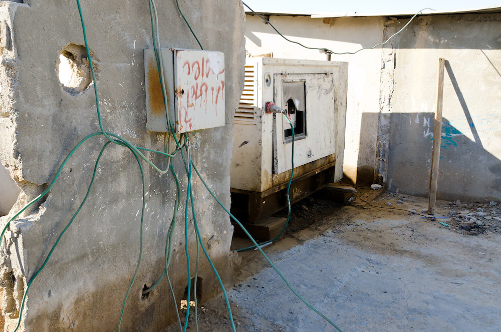 A generator supplies electricity to homes in the unrecognized Bedouin village of El Serah.
