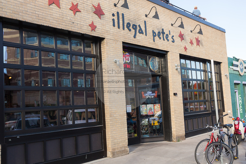 Illegal Pete's bar in the Old Town historic shopping and restaurant district in Fort Collins, Colorado.
