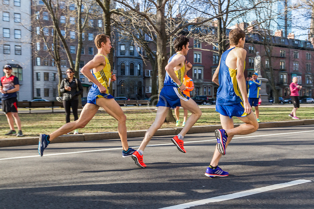 Boston Marathon: BAA 5K road race, BAA club runners race down Commonwealth Avenue