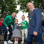 27.07.17.          <br /> Ireland Women&rsquo;s Rugby captain Niamh Briggs was mobbed by young fans in Limerick earlier today (Thursday) as she arrived in the city by boat for the Women&rsquo;s Rugby World Cup trophy tour.<br /> <br /> Pictured are left to right, Niamh Briggs, Ireland Women&rsquo;s Rugby captain, Julia, 3 and Isabel Tierney, 7 daughters of Tom Tierney coach of the Women's Team and Mayor of Limerick Cllr Stephen Keary.<br /> <br /> <br />  The Limerick based garda and Munster fullback was escorted on the River Shannon by Limerick Marine Search and Rescue along with Nevsail kayakers as she made her way to Arthur&rsquo;s Quay jetty to be officially met by Mayor of Limerick, Cllr Stephen Keary. Picture: Alan Place