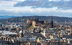 Skyline of Edinburgh looking towards Edinburgh Castle, Scotland, UK