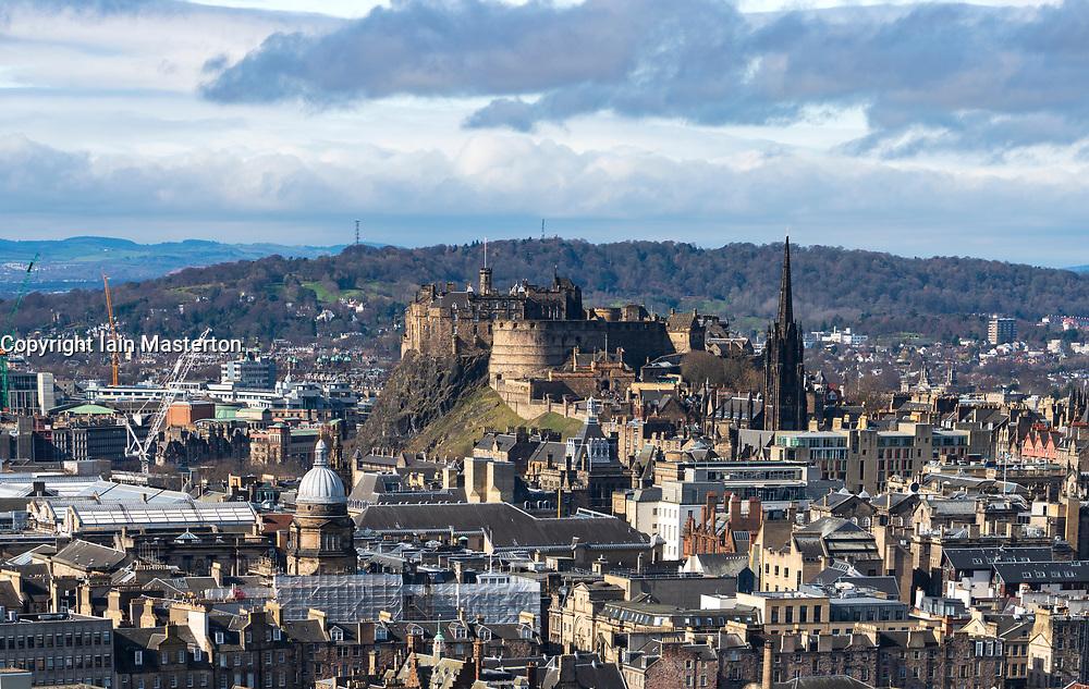 Skyline of Edinburgh looking towards Edinburgh Castle, Scotland, UK