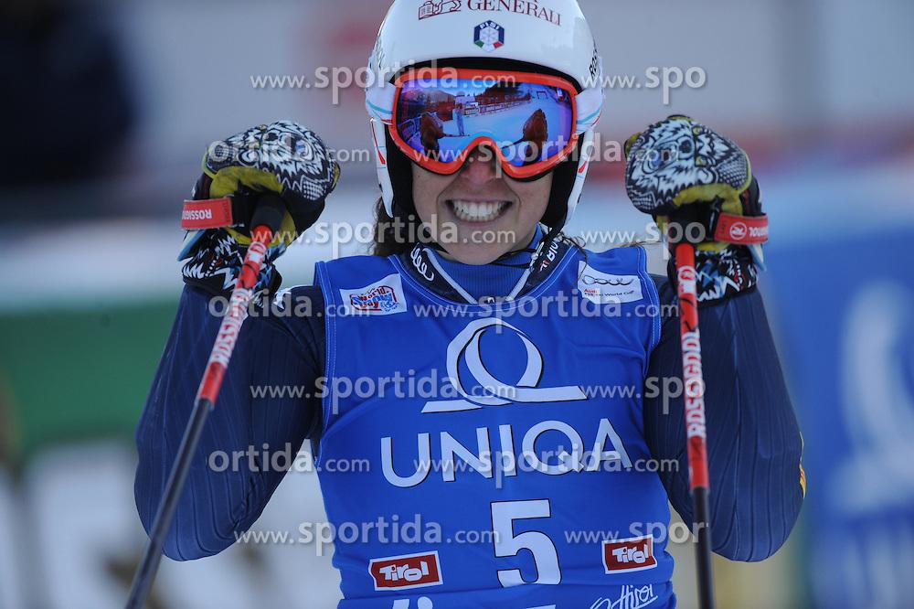 28.12.2015, Hochstein, Lienz, AUT, FIS Weltcup Ski Alpin, Lienz, Riesenslalom, Damen, 2. Durchgang, im Bild Federica Brignone (ITA) // Federica Brignone of Italy reacts after her 2nd run of ladies Giant Slalom of the Lienz FIS Ski Alpine World Cup at the Hochstein in Lienz, Austria on 2015/12/28. EXPA Pictures © 2015, PhotoCredit: EXPA/ Erich Spiess