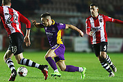 Jack Stacey, Billy Waters and Lloyd James during the EFL Sky Bet League 2 match between Exeter City and Cheltenham Town at St James' Park, Exeter, England on 14 March 2017. Photo by Antony Thompson.