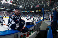 KELOWNA, BC - FEBRUARY 02:  Zane Franklin #16 of the Kamloops Blazers stretches at the bench during warm up against the Kelowna Rockets at Prospera Place on February 2, 2019 in Kelowna, Canada. (Photo by Marissa Baecker/Getty Images)