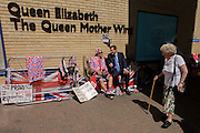 Royalist is interviewed as tension mounts outside St Mary's Hospital, Paddington London, where media and royalists await news of Kate, Duchess of Cambridge's impending labour and birth. Some have been camping out for up to two weeks during a UK heatwave, having bagged the best locations where an heir to the British throne will eventually be shown to the world. Copyright Richard Baker/Alamy Live News