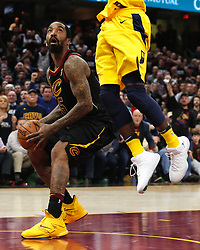 April 18, 2018 - Cleveland, OH, USA - The Cleveland Cavaliers' JR Smith waits for Indiana Pacers guard Victor Oladipo's block before scoring in the fourth quarter in Game 2 of a first-round NBA playoff series on Wednesday, April 18, 2018, at the Quicken Loans Arena in Cleveland. The Cavs won, 100-97, to even the series. (Credit Image: © Leah Klafczynski/TNS via ZUMA Wire)